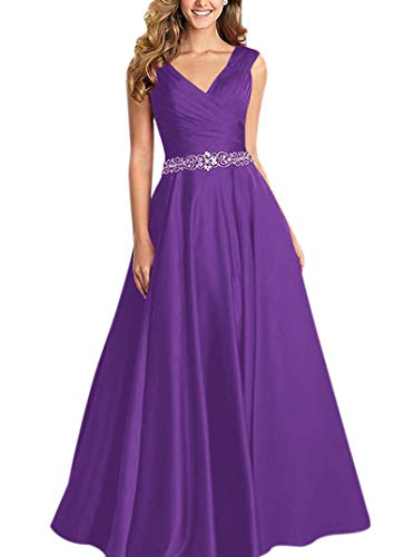 - QueenBridal V-Neck Pleated Satin Prom Dress Beaded Long Formal Evening Gowns for Women QU93 Purple