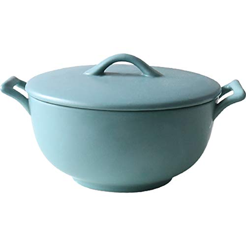 BANFANG Enameled Cast Iron Oven Pot with Lid - Small Capacity for Preparing Low and Slow Cooking Meals - Electric Gas Stove Top Compatible Cookware - Deep Large - Blue