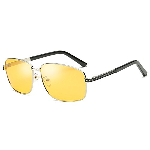 Men Sun Silver Vision Day UV400 Discoloration B Oculos and Glasses for Shades Aviator Driving Sunglasses Use Pilot Frame discolor Lens Night night Men Brand Designer Male Sunglasses Lens Yellow Use Fauhsto Sunglasses Night qtT0F0