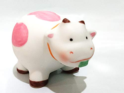 SSJSHOP Cow Miniature Figurines Hand Painted Pink Ceramic Animals Collectible Gift Home Decor (Ceramic Cow Statue)