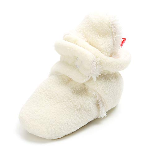 SOFMUO Unisex Baby Cozy Fleece Booties with Non Skid Bottom Newborn Socks Infant Warm Winter Crib Shoes(Milk White with Fur,0-6 Months)