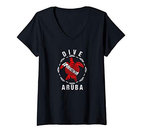 Womens Dive Aruba TShirt Vintage Tribal Turtle Gift   V-Neck T-Shirt