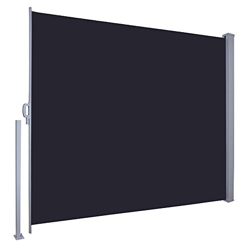 "Yescom 71"" x 118"" Outdoor Patio Retractable Side Awning Waterproof Sun Shade Wind Screen Privacy Divider Black"