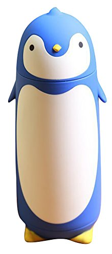 ChezMax Outdoor Penguin Cartoon Stainless Steel Thermos Water Bottle for Kids Water Bottle 9.5oz Blue
