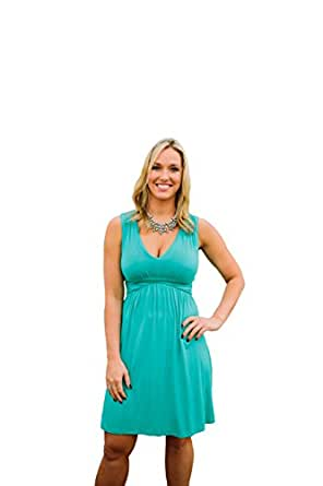 Charm Your Prince Women's Sleeveless Summer Sundress Turquoise LARGE