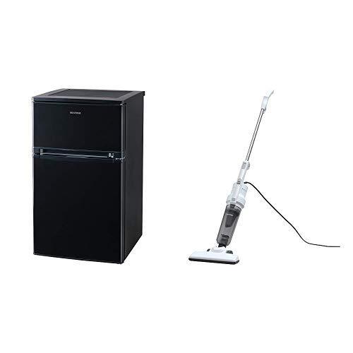 【セット販売】アイリスオーヤマ ノンフロン冷蔵庫 2ドア 81L ブラック NRSD-8A-B & サイクロン スティック クリーナー シルバー PIC-S2-S セット 2)81L(ブラック)  B07PRCDWDJ