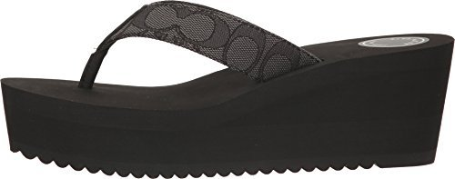 COACH Women's Jen Outline Smoke/Coal Sig C CVC Sandal 7.5 M US