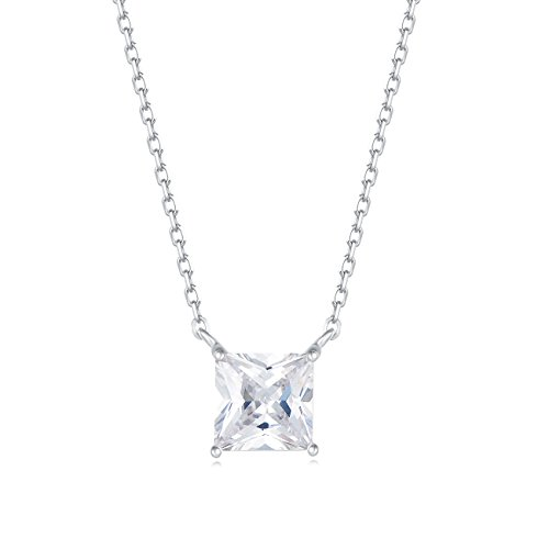 Carleen 18K White Gold Plated 925 Sterling Silver Princess Cut Solitaire CZ Cubic Zirconia Dainty Pendant Necklace for Women Girls with 15.75