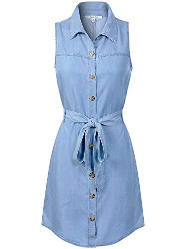 (Design by Olivia Women's Classic Sleeveless Blue Jean Button Down Denim Pocket Collar Shirt Dress Light Blue S)