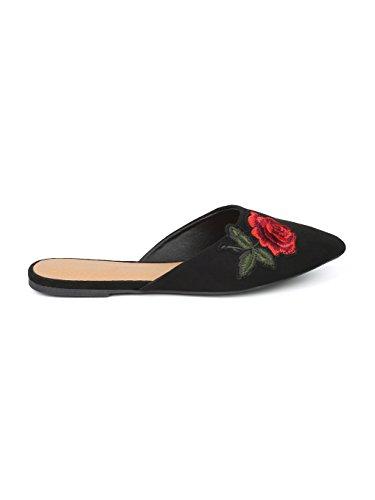 Alrisco Women Faux Suede Pointy Toe Rose Patch Motif Slip On Mule HF88 Black Faux Suede