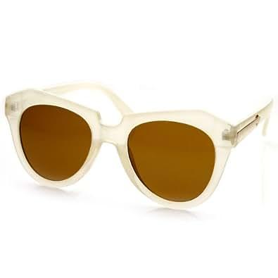 zeroUV - Modern Thick Cat Eye / Horn Rimmed Cross Sunglasses Edgy Retro Style Eyewear (Beige / Brown)