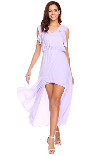 Split Sleeveless Out Ruffle Chiffon Women's Dress Maxi Party Evening ANGVNS Violet Cut E5XqxO7w