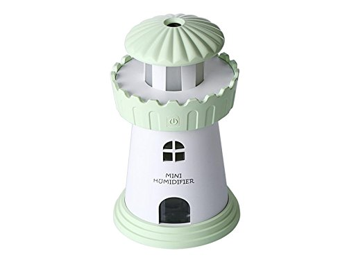 Zhisan Warm Lighthouse LED Humidifier Air Scented Oil Diffuser Purifier Atomizer Car Office Decor (Green)