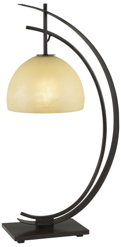 Pacific Coast Lighting 87-1242-20 Orbit 1-Light Table Lamp, Bronze with Gold Edge Finish and Amber Glass Shade