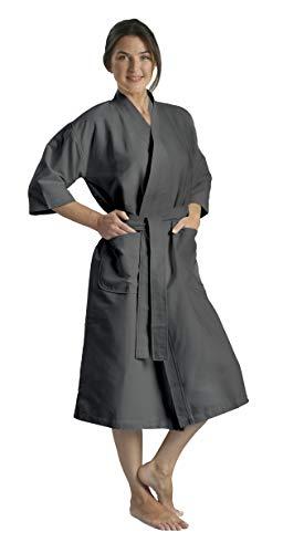 Chamois Microfiber Kimono Hotel Robe - Lightweight Absorbent Soft Spa Bathrobe in Charcoal/2XL by Monarch/Cypress