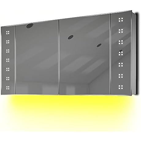 LED Bathroom Mirror Cabinet With Ambient Under Lighting Demist Sensor Shaver K22y