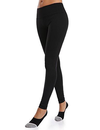 Wingslove Womens Yoga Pants Flex Running Yoga Leggings Tummy Control Mid Waist(L,Black)