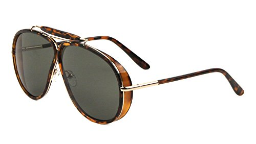 Oversized Outdoorsman Aviator Sunglasses w/ Brow Bar & Side Shields (Brown Tortoise & Gold Frame, - Sunglasses Outdoorsman