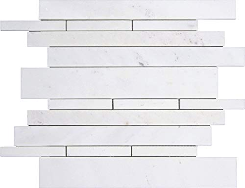 - Bianco Sivec Standard White Marble Random Strip Modern Brick Mesh Mounted Mosaic Tile Polished (TH-020)