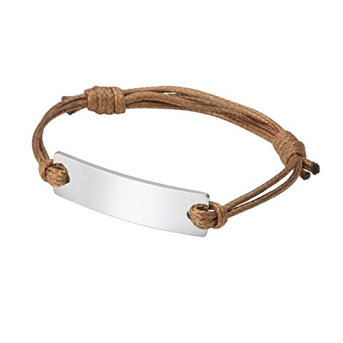 PiercingJ Personalized Engraving Mens Stainless Steel ID Tag Bar Leather Custom Initial Heart Name My Word Engraved Adjustable Bracelets Cuff Wristband ()