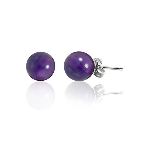 Bling Jewelry Silver Plated Amethyst Ball Stud Earrings 6mm