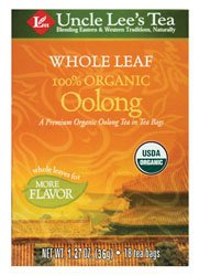 Uncle Lee's Tea Organic Whole Leaf Oolong Tea, 18 Tea Bags, 45g