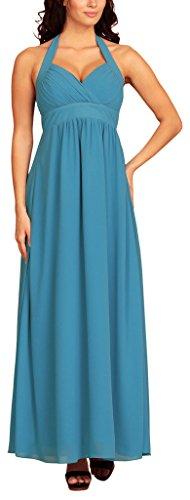 fashion house - Bata - cuello hálter - Básico - Sin mangas - para mujer azul claro
