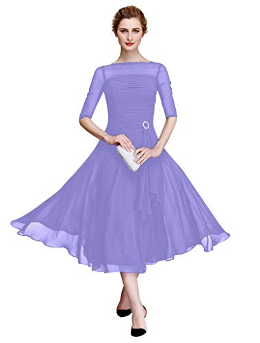 TS Women's A-Line Bateau Neck Tea Length Chiffon Mother of The Bride Dress with Ruched Illusion Sleeve Lavender