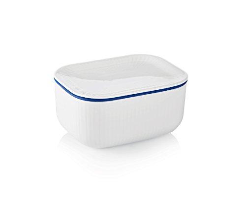 White Fluted Butter Jar (Copenhagen White Porcelain)