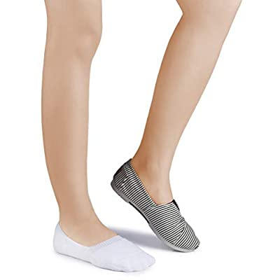 Leotruny 6 Pairs Unisex Thick Cushion Athletic Cotton Non Slip Low Cut Flat Liner No Show Socks at Women's Clothing store
