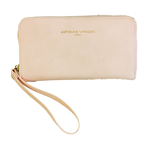 Adrienne Vittadini Charging Zip Around Wallet Wristlet - iPhone Android - Blush Smooth