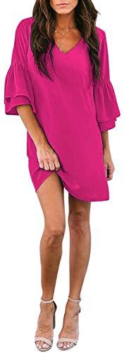 SVALIY Women's Chiffon V Neck Bell Sleeve Casual Loose Shift Party Mini Short Dresses (Rose, S)