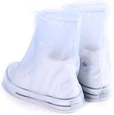 Stivali da Pioggia Impermeabile Scarpe Suola Spessa Dimensioni Coperchio A Fashion PVC Antiscivolo: XL (caffè) (Color : Blue) White