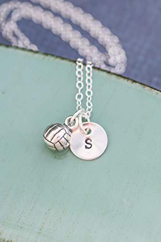 Volleyball Necklace - ROI - Girls Women Beach Water Polo Team Gift - 3/8 Inch 9.5MM - Handstamped Sterling Silver Jewelry - Personalized - Junior Blocker