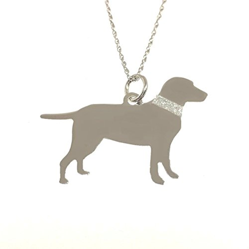 Laborador Glitter Collar Sterling Silver Rhodium Plated Dog Pendant
