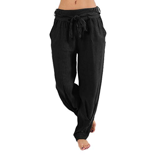 iYYVV Plus Size Women Casual Loose Harem Pants Casual Solid Color Sport Yoga Trousers Black]()