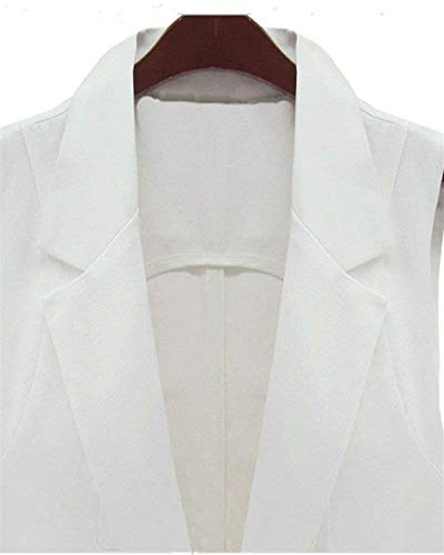 Abrigos Sin Chaleco Casual Blanco Moda Chaqueta Mangas Elegante Mujer Informales Largos Primavera Vintage Colores Bolsillos Con De Sólidos Otoño Outwear wFRwSqg