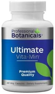 Professional Botanicals – Ultimate Vita-Min – Vitamins, Minerals, Enzymes, Micronutrients, and a Proprietary Blend of Herbs – 60 Vegetarian Capsules