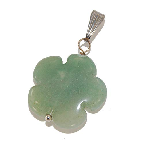 Steampunkers USA Unchained Wild Earth Collection - 20mm Classic Flower Floral Carving Green Aventurine - Pendant Only - Natural Gemstone Tribal Ethnic Carved Necklace - Stainless Steel Bail