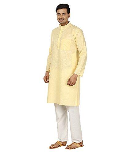 Royal Kurta Men's Fine Cotton Linen Airy Kurta Pyjama Set 44 Lemon by Royal Kurta (Image #3)