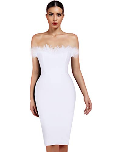 whoinshop Women's Sexy Off Shoulder Feather Bandage Evening Club Party Dress (S, White)