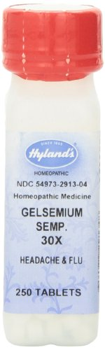 Hyland's Gelsemium Semp. 30X Tablets, Natural Homeopathic Headache and Flu Relief, 250 Count