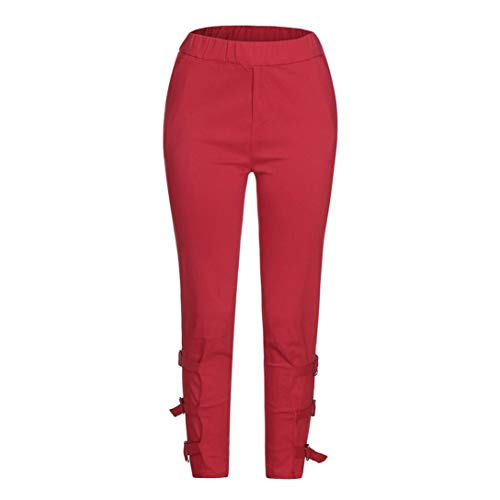 OWMEOT Women's Slim Dress Pants Relaxed-Fit All Day Pant Pull On Curvy Work Pants Ladies Bootcut Stretch Trousers (Red, S)