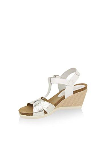 Liberitae - Sandalia minicuña de piel. Mujer Blanco / Plata