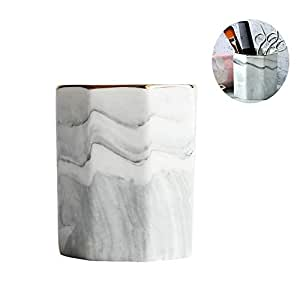 Nordic Ceramic Pen Holder Wind Marble Pattern Creative Fashion Desktop Makeup Brush Barrel Eyebrow Pencil Eyeliner Pen Storage (Color : Bronze)
