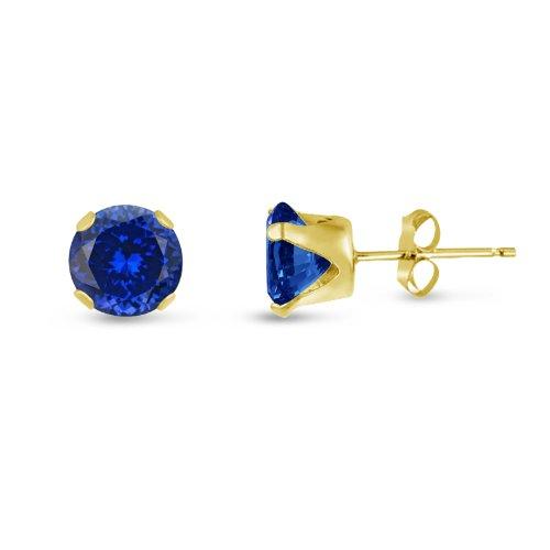 Kezef Rond 8 mm bleu roi-Tanzanite-CZ Jaune-Boucles d'oreille clous en argent plaqué or