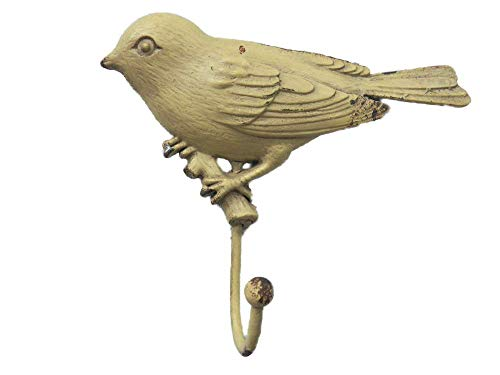 "Fun BIRD Shaped All Metal Chippy LIGHT YELLOW 5"" x 4"" COAT HOOK Hat"