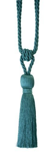 Designer Fabrics Curtains (Milly Designer Tie Back / Crystal Tassel For Curtain Fabric (Teal) by Milly)