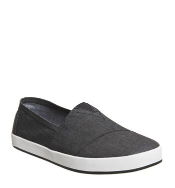 Toms Shoes Avalon Sneakers Black Chambray Mens 10