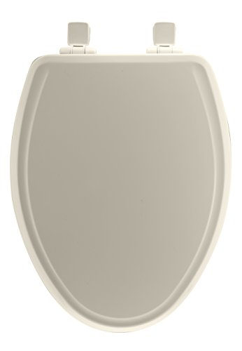 Mayfair Molded Wood Toilet Seat featuring Whisper-Close, Easy Clean & Change Hinges and STA-TITE Seat Fastening Systems, Elongated, Biscuit/Linen, 148SLOWA 346 (Toilet Biscuit Elongated Seat)